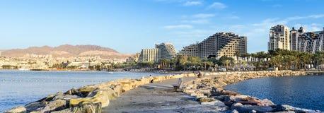 Vue sur la plage de norther d'Eilat, Israël Image stock