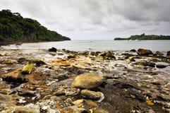 Vue sur la plage de sources thermales Photo stock