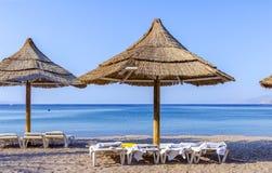 Vue sur la plage du nord d'Eilat Photo libre de droits