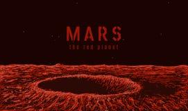 Vue sur la surface de Mars illustration de vecteur