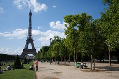 Vue sur la Tour Eiffel. Tour Eiffel, Paris stock photo