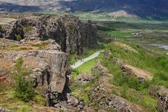 Vue sur la vallée de Thingvellir - parc national de Thingvellir, Islande Images libres de droits