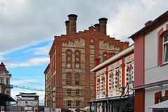 Vue sur la vieille brasserie de Zhiguli d'usine de bière dans la ville de Samara, Russie Photo stock