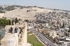 Vue sur la vieille partie de Jérusalem Photographie stock