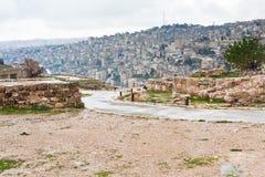 Vue sur la ville d'Amman de la côte de citadelle Photographie stock