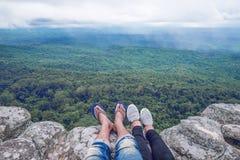 Vue sur la vue supérieure de montagne Photographie stock
