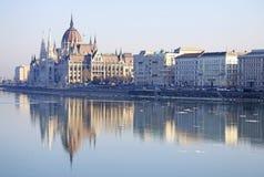 Vue sur le bâtiment hongrois du Parlement, Budapest, Hongrie Image stock