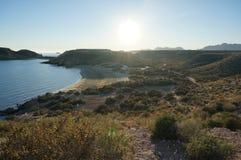 Vue sur le bord de la mer de la réservation de nature en Espagne image stock
