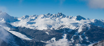 Vue sur le Courchevel, panorama Photos libres de droits