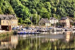 Vue sur le port de Dinan, France image libre de droits