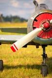 Vue sur le propulseur sur le vieil avion russe sur l'herbe verte Photo libre de droits
