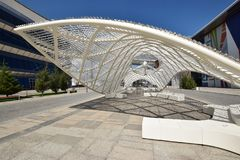Vue sur le secteur d'EXPO à Astana en 2017 photos libres de droits