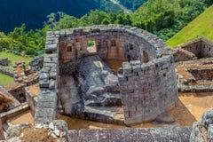 Vue sur le temple cérémonieux de la construction de Sun par des Inca image stock