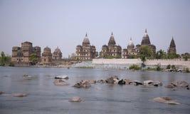 Vue sur les chhattris royaux le long du fleuve de betwa photos libres de droits