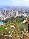 Vue sur les jardins de Bahai et Haïfa, Israël Images libres de droits