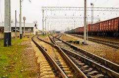 Vue sur les voies ferrées et le train de cargaison Photographie stock libre de droits