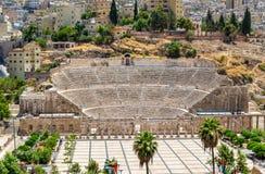 Vue sur Roman Theater à Amman Photos stock