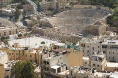 Vue sur Roman Theater antique situé dans la capitale de la Jordanie, Images stock