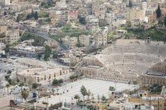 Vue sur Roman Theater antique situé dans la capitale de la Jordanie, Images libres de droits