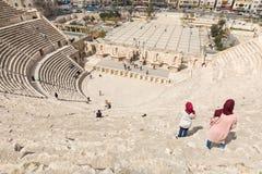 Vue sur Roman Theater antique situé dans la capitale de la Jordanie, Photographie stock libre de droits
