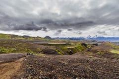 Vue sur un volcan et un glacier, Islande Photos libres de droits