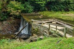 Vue tôt d'automne de barrage d'étang de moulin de râteaux photographie stock libre de droits