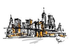 Vue tirée par la main de New York image stock