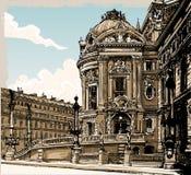 Vue tirée par la main de vintage d'opéra à Paris illustration stock