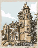 Vue tirée par la main de vintage de vieux château en Belgique Images libres de droits