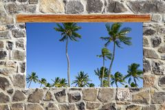 Vue tropicale de palmiers d'hublot de mur de maçonnerie en pierre Photo stock
