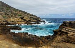 Vue tropicale, surveillance de Lanai, Hawaï Images stock