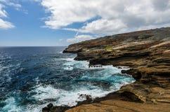 Vue tropicale, surveillance de Lanai, Hawaï Images libres de droits