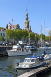 Vue Veere de ville avec la marina et les bâtiments historiques Photographie stock libre de droits