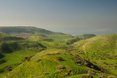 Vue vers la mer de la Galilée des Hauteurs du Golan Photos libres de droits