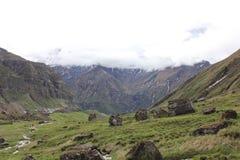 Vue vers la montagne de Machhapuchre Photos libres de droits