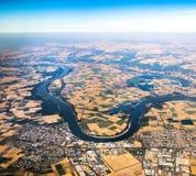 Vue vers la rivière le Rhin dans Hesse Photo libre de droits