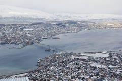 Vue vers le bas sur Tromso, Norvège Photographie stock