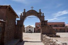 Vue vers le Lac Titicaca de l'île de Taquile photo libre de droits