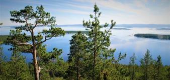 Vue verte et bleue de la mer blanche photos libres de droits