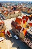 Vue verticale aérienne de place du marché de Wroclaw photographie stock