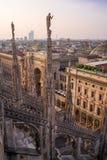 Vue verticale du dessus de toit de Duomo du Palazzo Settentrionale au coucher du soleil Photographie stock
