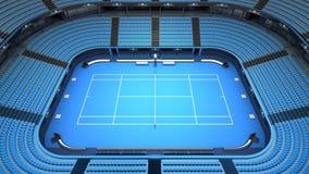 Vue vide d'intérieur de stade de court de tennis Photo stock