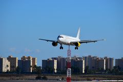 Vueling Airlines Flying Low At Alicante Airport Stock Photography