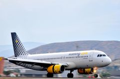 Vueling airlines running in piste of alicante airport, spain Royalty Free Stock Image