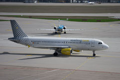Vueling Airlines. Spanish airline Vueling EC-LAA Airbus A320-214 taxiing in Stuttgart Germany Stock Photo