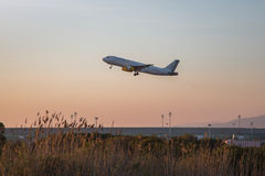 Vueling plane departing. Photograph of a plane departing from El Prat airport, Barcelona, Spain Stock Images
