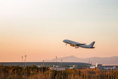 Vueling plane departing. Photograph of a plane departing from El Prat airport, Barcelona, Spain Stock Photos