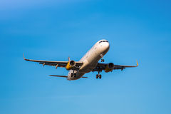 Vueling plane. Photograph of a plane landing in El Prat airport, Barcelona, Spain Royalty Free Stock Photo