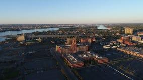 Vuelo aéreo Camden New Jersey Waterfront almacen de metraje de vídeo