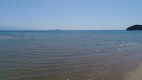 Vuelo aéreo del carro del abejón, tideland bajo del mar almacen de metraje de vídeo